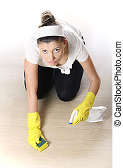 Young woman doing housework