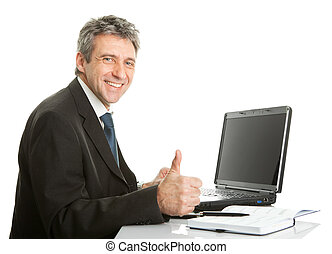 Senior business man working on laptop Isolated on white
