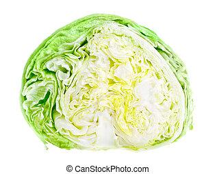 Half of fresh green iceberg lettuce isolated on white...