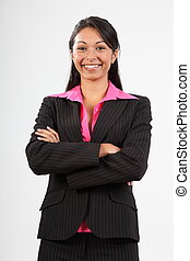 Business woman wearing suit - Smiling young business woman...