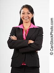 empresa / negocio, mujer, Llevando, Traje