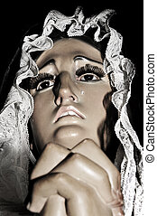 Mother of Sorrows - detail of the face of a Mother of...