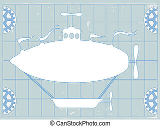 Blue Print Fantasy Blimp Airship Co - Half Gears accenting...