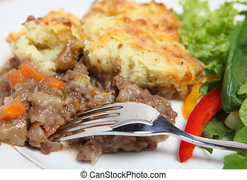 Shepherds pie dinner - Close-up view of a meal of shepherds...