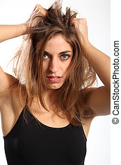 Bad hair day for frustrated lady - Woman with long hair...