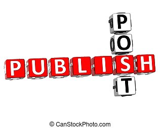 Publish Post Crossword - 3D Publish Post Crossword on white...