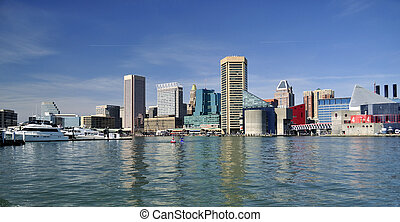 Baltimore MD - View to downtown of Baltimore MD from harbour