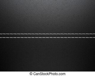 Black horizontal stitched leather background. Large...