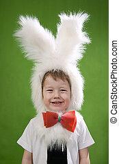 Bunny Boy - Boy in a white downy bunny costume.