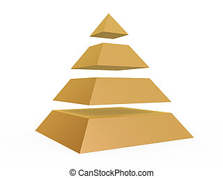sliced pyramid - golden sliced pyramid isolated on white...