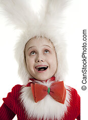 childin a white downy bunny costume.