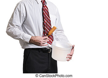Food Poisoning - A businessman holding a pail and his...