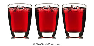 One glass of red fruit juice with ice