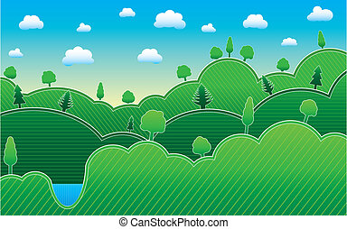 Spring or summer background with meadow, trees, vector illustration
