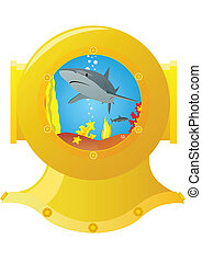 Marine predator - Helmet diver of the yellow metal Shark...