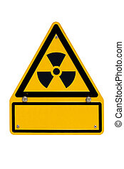 Radioactive Sign with copyspace on white - Radiation warning...