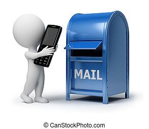 3D, 小さい, 人々, -, 郵便物, 電話