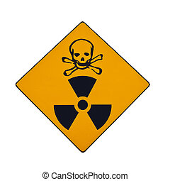 Deadly radiation warning sign, isolated
