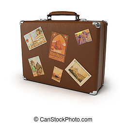Old suitcase - Old brown suitcase with labels. 3d image....