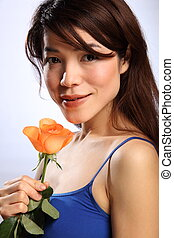 Japanese girl with peach rose - Beautiful flowers for...
