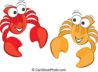Two funny cartoon crab. Illustration isolated on white...