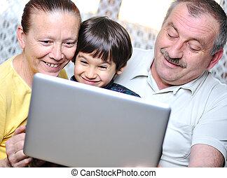 par,  laptop, Idoso