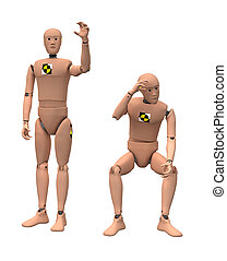 Crash dummies in some poses isolated on white. With clipping...