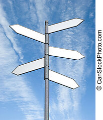 Crossroad sign with clipping paths