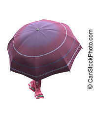 Pink Rubber Shoes with Umbrella - 3D image. Umbrella and...