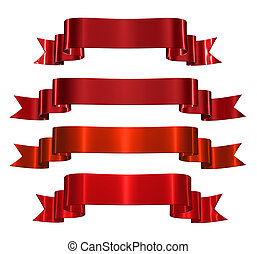 Red decorative ribbons isolated on white background.