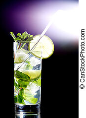 mojito on black - mojito isolated on black close up