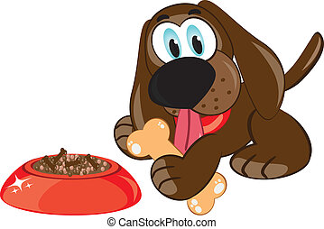 Cartoon dog with a bone - Illustration of a cartoon dog with...