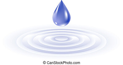 Water drop falling Illustration on white background