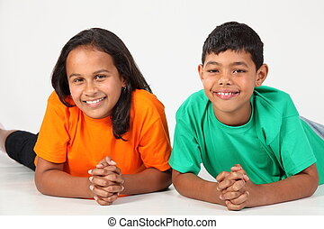 Happy smile from young boy and girl