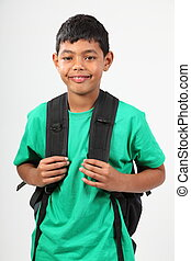Happy boy ready for school
