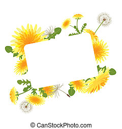 Dandelion blossoms frame - Illustration vector