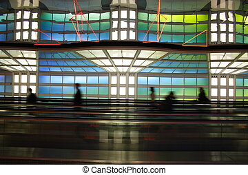 Chicago airport - Colorful moving walkway in Chicago O?Hare...