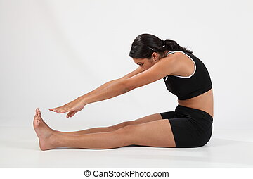 Hamstring stretch touching toes - Fitness routine on girl...