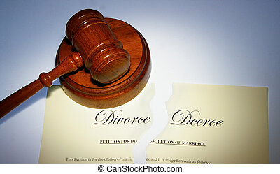 divorce decree ripped in two, and legal gavel