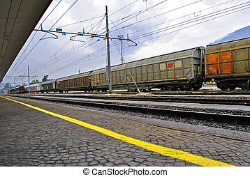 freight train stopped at the station