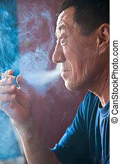 sigaretta, fumi, Asiatico, adulto, uomo