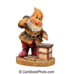 gnome with a white beard to work with hammer