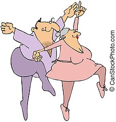 Elderly Ballet Dancers - This illustration depicts a chubby...