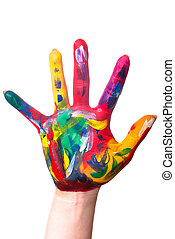 a colorful hand edge - a painted colorful hand upright...