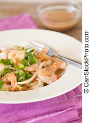 Noodle salad - Fresh noodle salad with shrimps, beansprouts...