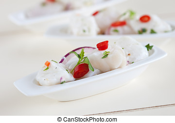 Ceviche - Delicious bowl of ceviche with fresh chili and...