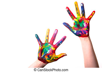two colorful hands with Copy Space - two painted colorful...