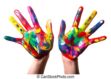 two colorful hands V1 - two painted colorful hands against...