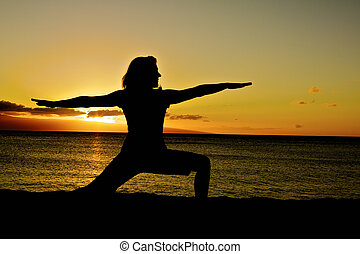 Yoga Warrior Pose in Sunset
