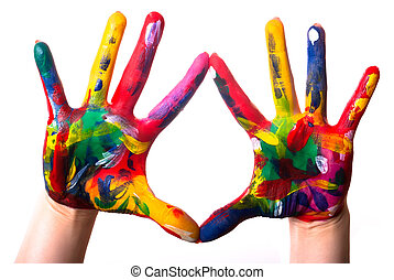 two colorful hands V2 - two painted colorful hands against...